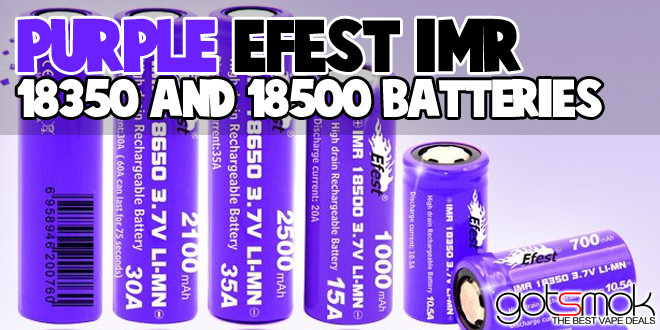Purple Efest IMR 18350 & 18500 Batteries $6.99-7.49