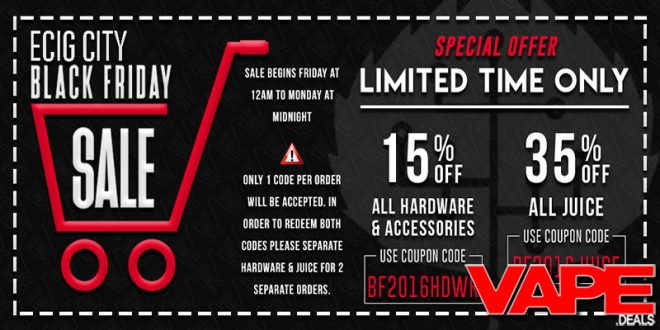 Ecig city black friday cyber monday sale vape deals