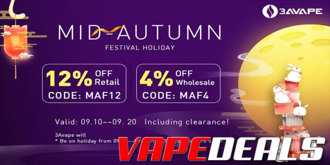 3avape Mid-Autumn Festival Sale (12% Off Everything!)