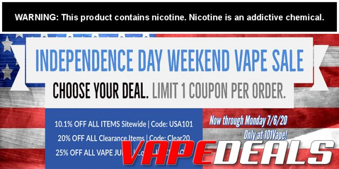 101vape 4th of July Sale Extended + Clearance Deals