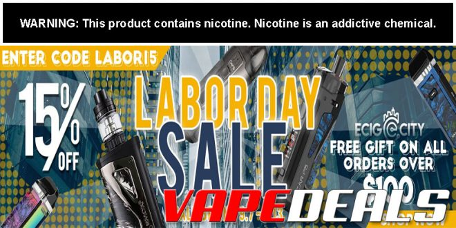 Ecig-City Labor Day 2020 Sale (15% Off Sitewide)