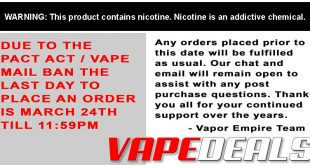 Vapor Empire USPS Shipping Cutoff Today!!!