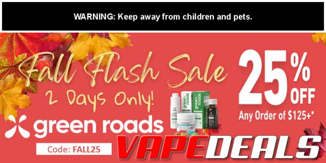 Green Roads CBD Fall Flash Sale (25% Off $125)